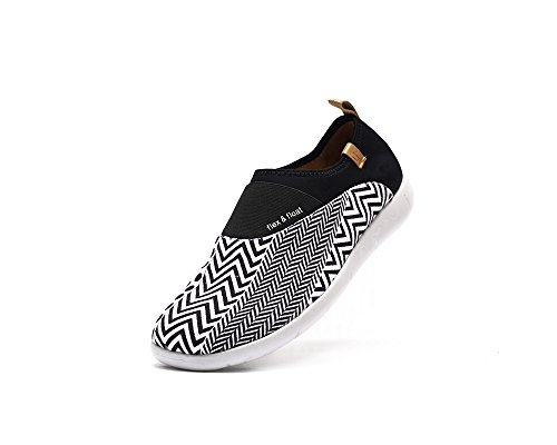 UIN Chaussure plate de peinture de graphique géométrique de canevas Sintra des femmes Noir et Blanc
