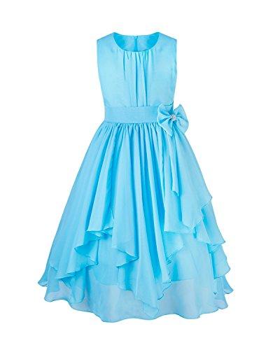 en Kleid Pinzessin Kostüm Blumenmädchen Kleider Festlich Party Hochzeit Festzug- Gr. 128/8 Jahre, Blau (Mädchen-größe 8 Kleider)