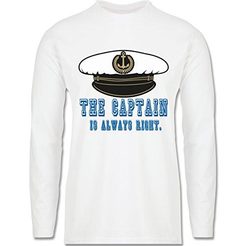 Statement Shirts - The Captain is always right - Longsleeve / langärmeliges T-Shirt für Herren Weiß