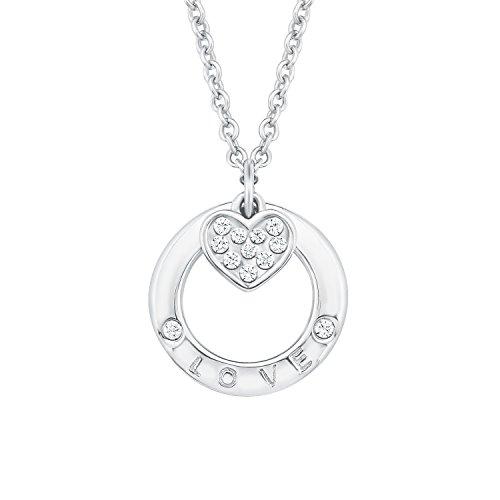 s.Oliver Damen-Kette 45 cm So Pure mit Anhänger Herz Love 925 Silber rhodiniert Zirkonia weiß