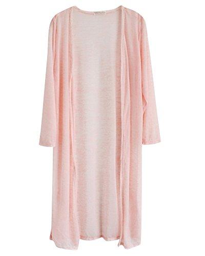 Donna Cardigan Lungo Aperto Davanti Camicetta Giacca Colore Puro Cardigan Chiaro Pink