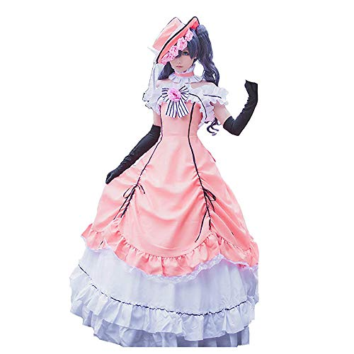 Phantomhive Weibliche Kostüm Ciel - Vokaer Black Butler Ciel Phantomhive Pink Lolita Cosplay Kostüm Damen,S