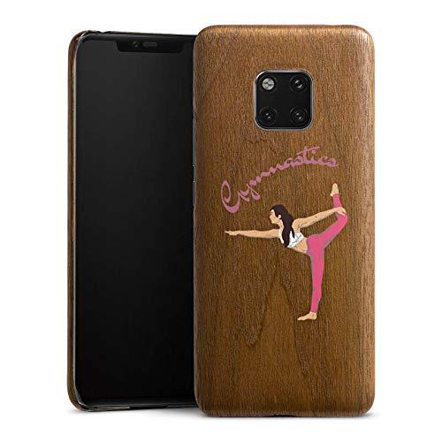 DeinDesign Holz Hülle kompatibel mit Huawei Mate 20 Pro Holz Schutzhülle Echtholz Handyhülle Gymnastic ohne Hintergrund Hobby
