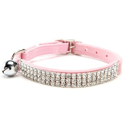 HUKCHI Soft Velvet Safe Cat Adjustable Collar Bling Diamante With Bells,11 inch for small dogs and cats (Pink)