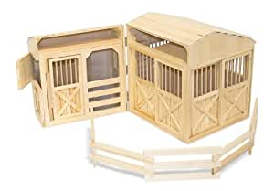 Melissa & Doug Folding Wooden Horse Stable Doll's House With Fence