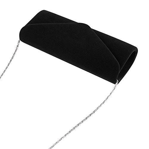 Pochette da sera, Clorislove retro Velvet party Prom borsetta Black