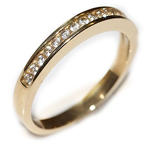 Ah! Jewellery Women's Half Eternity Channel Set Simulated Diamonds Ring. Appealing Gold Over Stainless Steel. Excellent Quality Jewellery For Her!