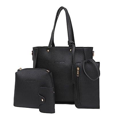 Handbag, Shoulder Bags,TUDUZ Women Fashion Casual Four Set tassel Handbag Shoulder Bags Four Pieces Tote Bag Messenger… 1