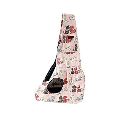 MagiDeal Umhängetasche für Hunde Katzen Haustiere, Einzelne Tragetasche Schultertasche Rucksack Transporttasche Reise , unter 6KG - Rosa