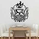 Jasonding Cucina Bbq Badge Fai Da Te Adesivi Murali Cucina Poster Da Parete Decorazione In Vinile Grill Con Adesivi Fuoco Decor Coffee Bar Decal Murale 56 * 64Cm
