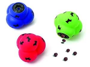 Karlie 45479 Balle à croquettes pour chien en forme de molécule ø 13 cm Roue, bleu ou vert