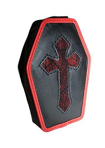 Gothic dark romantic Geldbörse Portmonaie Tasche Sarg Kreuz schwarz rot (Sarg Geldbörse)