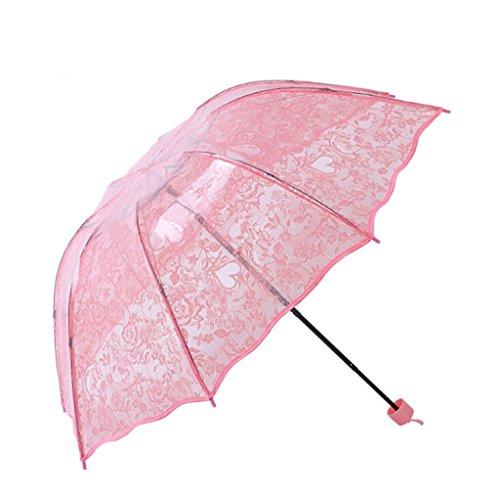 GTWP GT Regenschirm Manual Mode 3 - Folding Umbrella Spitze liebe Transparent Stockschirm Robuste winddicht Anti-UV SPF 40+ Sonnenschutz Sonne Regen Schirm
