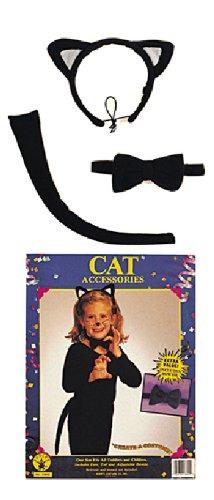 Karneval Zubehör Set Katze zum Kinder Kostüm an Fasching Halloween (Katze Kostüm Zubehör Halloween)