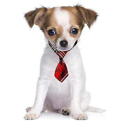 Scottish Scotland Red Tartan Pattern Fancy Dress Cute Pet Dog Cat Mini Neck Tie