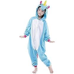 Rainbow Fox Chicos Chicas Unicornio Pijama Pegaso Animal Disfraces Dibujos animados Cosplay Ropa para Niños Inferior que 130cm en Altura (115(120-130cm), Azul)
