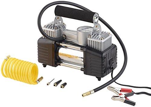 Lescars Auto Luftpumpe: Mobiler Luft-Kompressor, Manometer, 12 V, 100 psi, 288 Watt, 3 Adapter (12 V Kfz Druckluft Kompressoren) - 3
