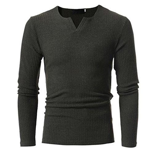 Amlaiworld 6 Farbe Herren Herbst Freizeit Sweatshirt dick Winter Pullover Warm Langarmshirts Eng Fitness Mäntel Mode Sport Pulli lässig Weich Oberteil (XXL, Dunkelgrau)