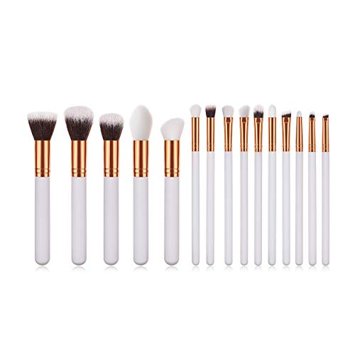 WESEEDOO Ensemble de Pinceau de Maquillage,Fondation Poudre Rougir Correcteur Pinceaux de Contour pour crème Liquide en Poudre -15PCS