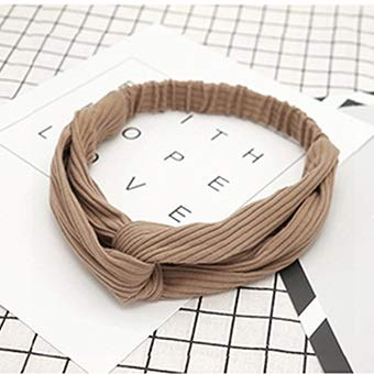 Fang-denghui, 1 stück Blume Stirnband Retro für Frauen Turban häkeln gekreuzte Knoten elastische haarbänder solide Stretch Headwear Damen (Color 7)