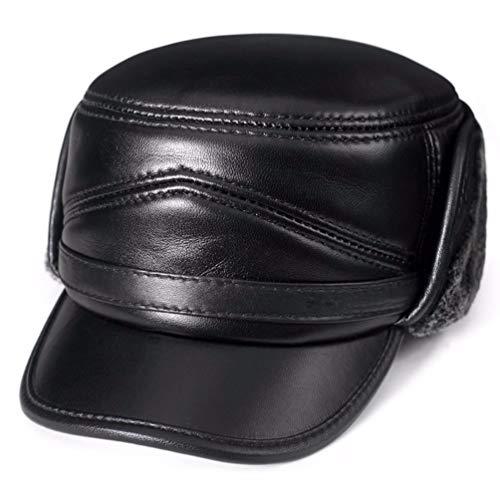YISANLING-PM Herren Herbst und Winter Leder Hut Ohrenschützer Flacher Hut im Freien warme Mütze, (60-61 cm), schwarz - ära Neue Baseball-hüte