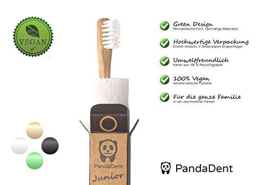 Weiche Bambus-Zahnbürste für Kinder | 4er Pack GRÜN | Für eine schönere und bessere Welt! - 6
