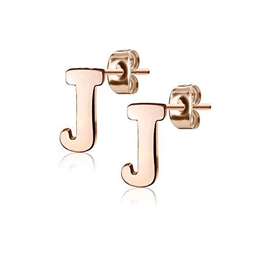 Bungsa® BUCHSTABE J Ohrstecker Rosegold - BUCHSTABEN J Ohrring in Rosegold - Alphabet Ohrringe zum Stecken - aus Edelstahl - Ohrschmuck für Damen, Kinder & Herren