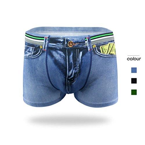 LnLyin Herren Unterwäsche Modelle Sexy Baumwolle Denim Unterwäsche Männer Gedruckt Denim Boyshorts Blau XL -