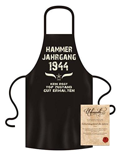 Soreso Design Geschenk zum 75 Geburtstag Grillschürze Kochschürze Hammer Jahrgang 1944 + Urkunde Geburtstagskind des Jahres Farbe: schwarz