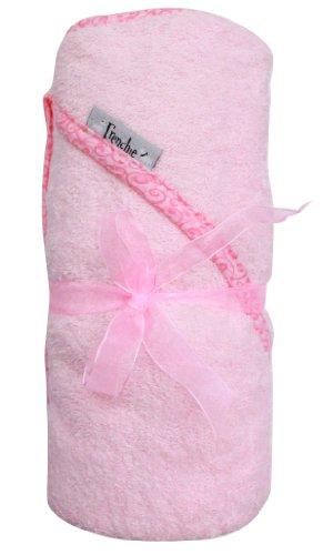 Rosa Handtuch mit Swirl Drucken Extra große, saugfähiges Handtuch mit Kapuze, von Frenchie Mini Couture (Extra Großes Baby Badetuch)