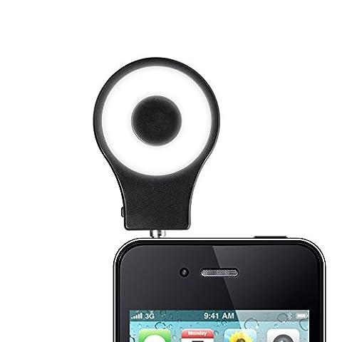 BlueBeach® Mini spot LED flash de lumière selfie Mobile appareil photo Flash Photo Vidéo Lampe pour iPhone Samsung HTC Nokia iPad LG Motorola Moto Other Smartphones Tablets (Noir)