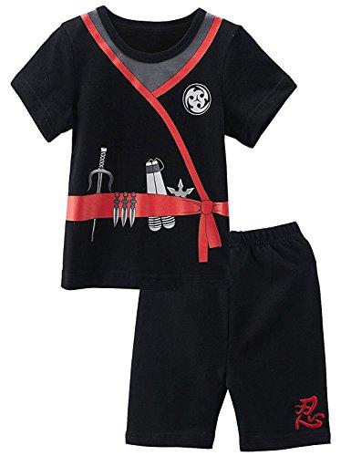 Kostüm Ninja Junge Kleinkind - Mombebe Baby Jungen 2 Stücke Ninja Kostüm Shirt Sets (18-24 Monate, Ninja)