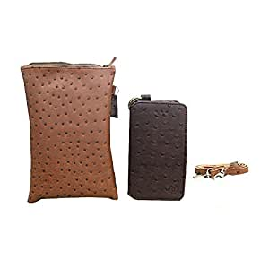 Jo Jo A7 Zara Sr Croc Leather Wallet sling Bag clutch Pouch Mobile Phone Case Cover For Alcatel Pixi 3 (4.5) Brown