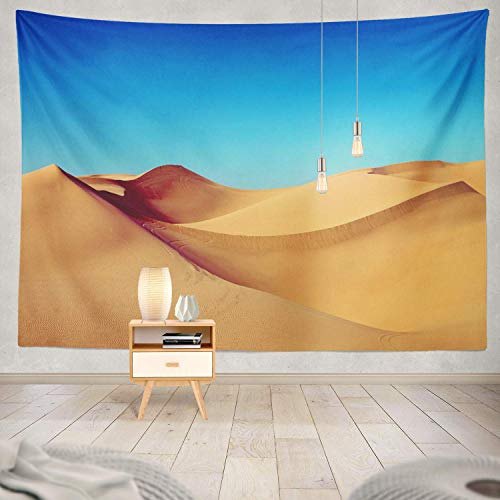 gthytjhv Tapisserie Decor Collection, Sand Desert Warm Sand Blue Sky Desert Sand Landscape Africa Colorful Bedroom Living Room Dorm Wall Hanging Tapestry Polyester & Polyester Blend -