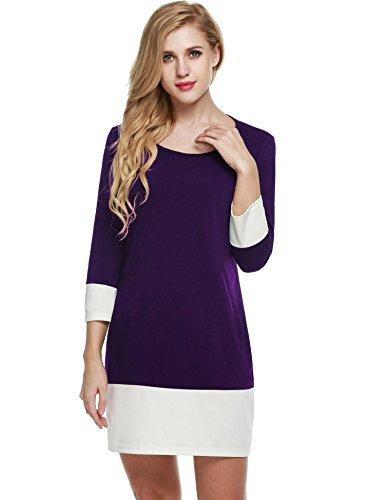 lock Patchwork 3/4 Ärmel Etuikleid Casual Kleid Shirtkleid mit Taschen Knielang- Gr. L (Herstellergröße: L), Lila ()