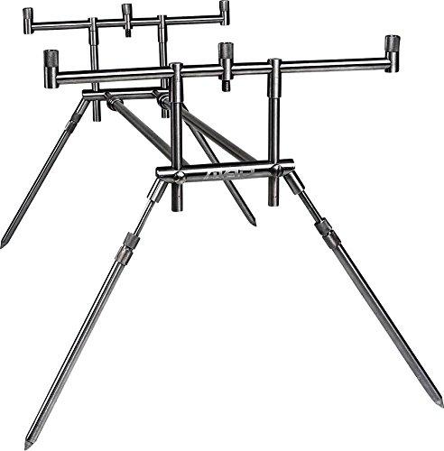 MAD 4-pierna de acero inoxidable Rod Compact Pod para 3 cañas de pescar