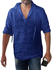 Enjoybuy Mens Linen Henley Shirts Pullover Hoodie Casual Lightweight Long Sleeve T Shirts Top
