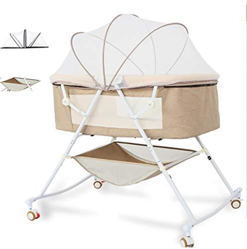 MTEUIE Baby-Wiege Kinderbett mit Swing-Funktion Stubenwagen Set Reisen, Schützen Sie Baby vor dem Moskito, faltbares zusammenklappbares Kinderbett,Brown
