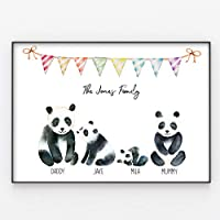 Panda Family Print, Wall Art Gift for Home Personalised in A3 or A4