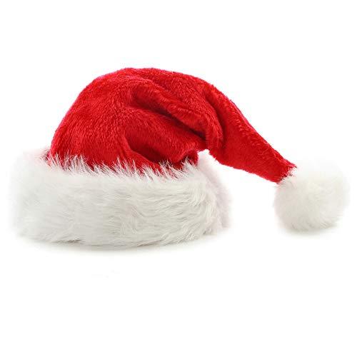 OHQ Weihnachtsmütze Nikolausmütze Plüsch Rand Weihnachtsfeier Rot Santa Mütze Nikolaus Dicker Fellrand aus Plüsch kuschelweich & angenehm für Erwachsene (A, 32x45cm)