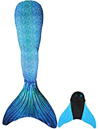 GNFUN Cola de Sirena para Nadar con Aleta de Sirena de 110-170 cm de Altura, Adecuada para niñas y Adultos