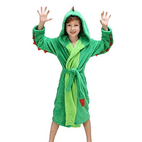 Plüsch-mit Kapuze Bademantel der Mädchen-Jungen - Dinosaurier-Fleece-Bademantel-Kleid-Kleid (116-128, Grün)