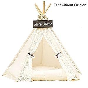 Dewel Hause und Zelt mit Spitze für Hund oder Haustier, abnehmbar und waschbar, weiße