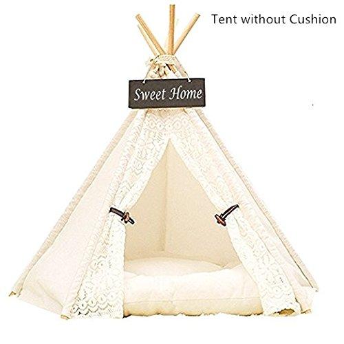 *Dewel Hause und Zelt mit Spitze für Hund oder Haustier, abnehmbar und waschbar, weiße*