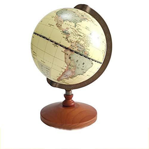 Mappamondo Globo del mondo dell'annata Globo del desktop decorativo antico Rotante Globo della terra Globo del globo di legno di base educativo REGALO di cerimonia nuziale con la lente d'ingrandimento
