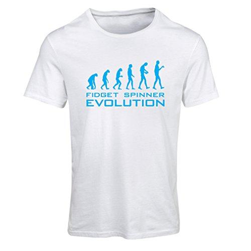 Camiseta mujer La evolución - Fidget Spinner (Large Blanco Azul)