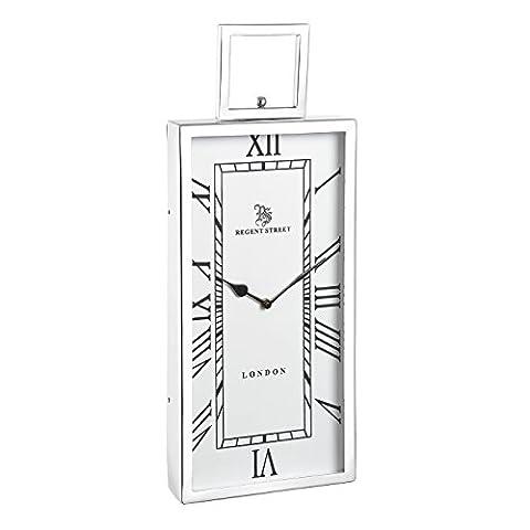 Fleetwood small wall clockPolished nickel plate & clear glass510mm height x 205mm width x 55mm projectionH: 510mm W: 205mm Proj: