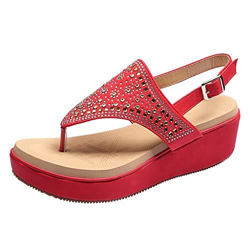 Lucky Mall Frauen Strass Wedge Plateausandalen, Sommer Strandschuhe Damen Flip-Flops Mode Sandalen mit Keilabsatz Offene Zehensandalen Freizeitschuhe Römische Sandalen