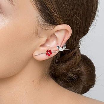 Sterling Silber Blatt Ohr Manschette Anweisung Ohrring Manschette Gold Ohr Kletterer roter Ohrring Blume Ohrring Emaille…