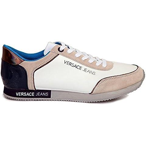 Versace Jeans - Zapatillas de Piel para hombre Blanco blanco